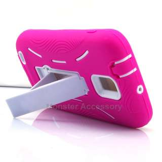 Pink White Double Layer Kickstand Hard Case Cover Samsung Galaxy S 2 T