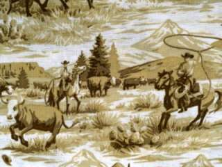 New Cowboy Cattle Drive Cow Western Country Farm Horse Toile Animal