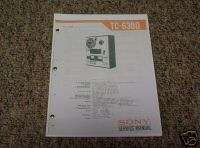 Sony TC 630D Reel to Reel Service Manual FREE SHIP
