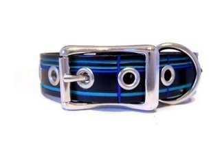 Designer Grummet dog Collar leather Studs Black Blue
