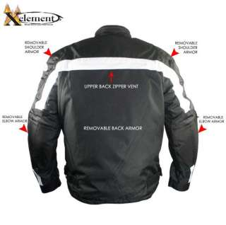 Mens Level 3 Armored Black&White Waterproof Tri Tex Fabric Motorcycle