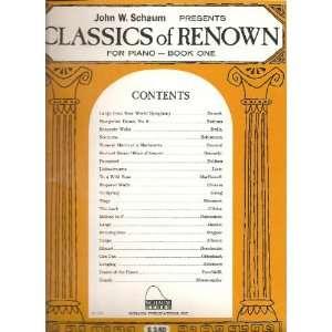 Schaum Presents Classics of Renown for Piano   Book One (1) Books