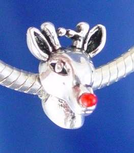 RED NOSED REINDEER CHRISTMAS SANTA SLEIGH Silver European Charm Bead