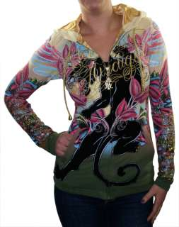 CHRISTIAN AUDIGIER Ed Hardy Panther Wings Tattoo Womens Hooded