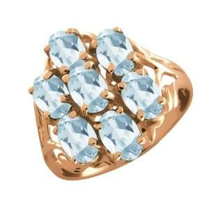 85 Ct Oval Sky Blue Topaz Gold Plated Sterling Silver Ring Jewelry