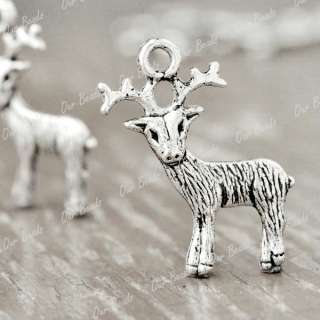 30pcs Tibet Style Tibetan Silver Buck Deer Charm Pendant Drop Findings