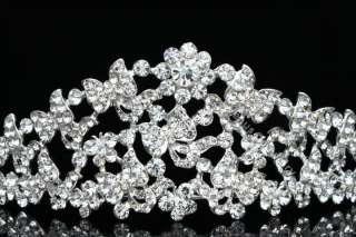 Wedding Butterfly Flower Rhinestone Crystal Tiara Crown 8763