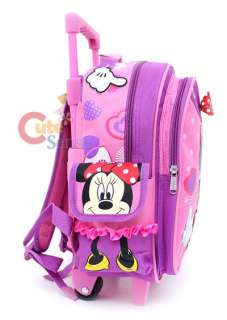 Disney Minnie Mouse Red Bow School Roller Backpack Rolling Bag 3