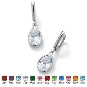 Pear Shaped Birthstone Drop Pierced Earrings  April  Simulated Diamond