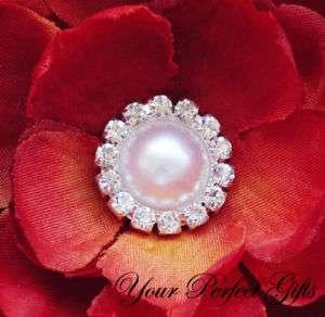 10 Round Diamante Rhinestone Crystal Pearl Button Clip