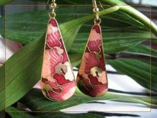 14K Gold Plated Cloisonne Enamel W & B Dangle Earrings