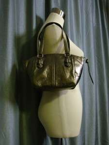 NWT COACH CHELSEA Gunmetal Metallic Leather Small Bag Handbag #46042