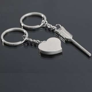Metal Arrow Heart Key Ring Chain Keychain Keyring Keyfob Cute Lover