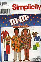 SIMPLICITY CHILD M&M ROBE TOP PANT SHORT PATTERN 3 8