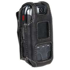 Black Leather Fitted Case Cover with clip for Verizon Samsung U660