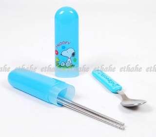 Peanuts Gang Snoopy Spoon Chopstick Box Case Set 2OFF