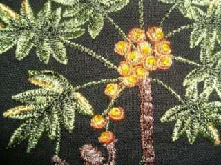 Citi Dress Black Linen Dress w/Monkey/Palm Tree Accents Sz 8