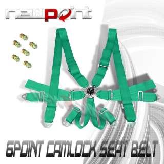 GREEN 6 POINT 3 STRAP RACING CAMLOCK SEAT BELT HARNESS