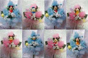 Mickey Minnie Donald Duck Pluto baby shower corsage