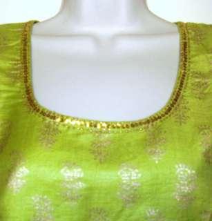 Ethnic Indian India Women Tunic Top Kurti Cotton Silk Green Gypsy Boho