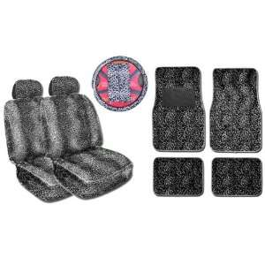 Seat Covers, Wheel Cover, and Floor Mats Set   Black and White Cheetah