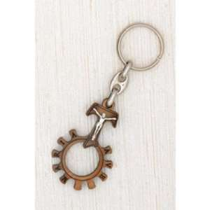 Tau Cross with Corpus Finger Rosary Key Chain 1 3/4 Home