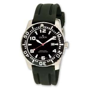 Croton Mens Stainless Steel Black Dial Silicone Band