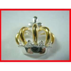 Crown & White Topaz Pendant Sterling SIlver & Gold#2730