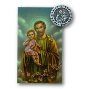 St Joseph Pin Prayer Card Set Lapel Pin Patron Saint Medal