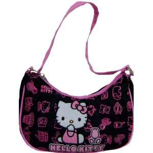 Cute Hello Kitty Black Pink Graphics Girls Handbag Bonus