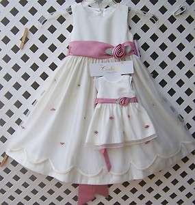 4T IVORY PINK MATTE SATIN SCALLOPED DRESS w/DOLL DRESS 18 NWT