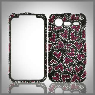 FOR HTC DROID INCREDIBLE 2 & 2S G11 BLACK PINK HEARTS BLING DIAMOND