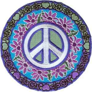Peace Sign Daisy Flowers Hippie Iron On Applique Patch