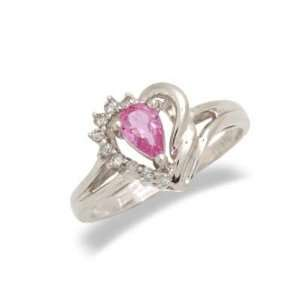 Ladies Diamond & Pink Sapphire Ring in 14K White Gold(TCW