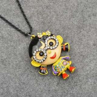 Smoky Black Enamel Cute Girl Swarovski Crystal Glass Pendant Necklace