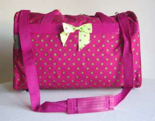 19Pink Duffel/Tote Bag Luggage Travel Green Polka Dots