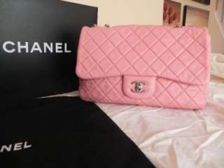 CHANEL QUILED PINK CLASSIC JUMBO FLAP BAG 2.55 CHAIN LAMBSKIN |