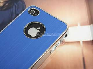 Blue Luxury Steel Chrome Hard Case Cover For AT&T Sprint Verizon