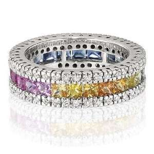 14k White Gold Rainbow Sapphire 1/2 Carat Diamond Ring: Jewelry