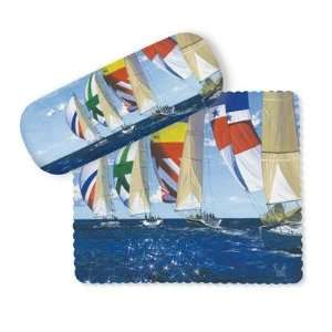 Afternoon Sail Spinnaker Sailboats Glasses Case and Lens