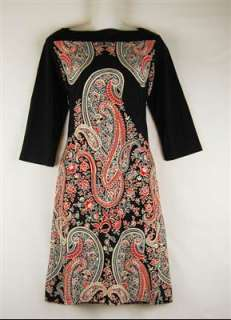 RWW~New Size S L Emma & Michele Hindu Black Paisley Shift Dress