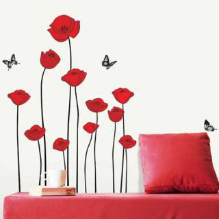RED POPPY DECOR MURAL ART WALL PAPER STICKER SS 58218