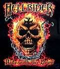 HELLRIDER RIDE WITH THE DEVIL SKULL FLAMES T SHIRT WS5