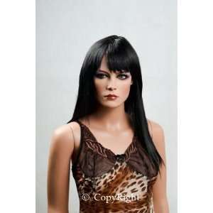 Female Mannequin Long Straight Black Wig with Bangs
