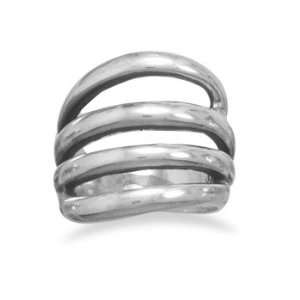 Sterling Silver Four Open Row Oxidized Ring Design Is 17mm Wide   Size