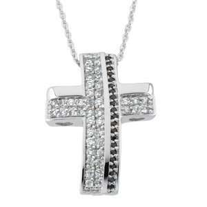 Sterling Silver Beauty White and Black Crystals Cross Pendant Necklace