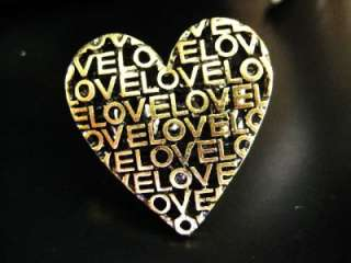 NEW HEART LOVE RING FINGER GOLD ADJUSTABLE ONE SIZE