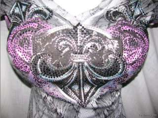 IN VEIN FAUX LACE PURPLE Ribbon Bound Silver TATTOO Angel Wing
