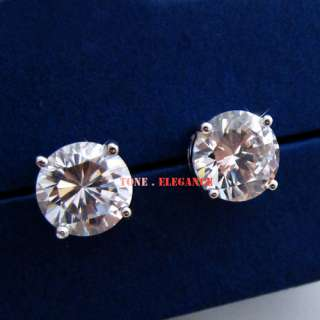 white gold GF SWAROVSKI crystal simulated diamond stud womens earrings