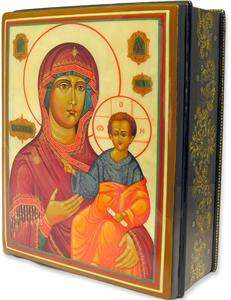 Mary Christ Mother of Pearl Icon laquered box Jesus WOW